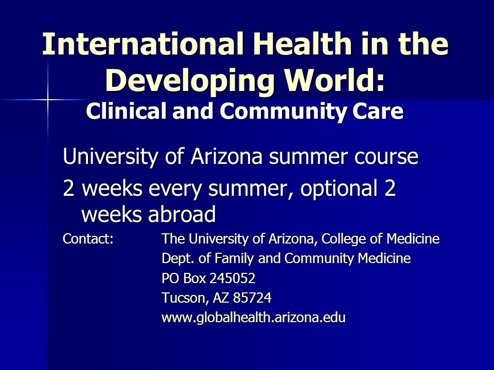 International Health in the Developing World: Clinical and Community Care