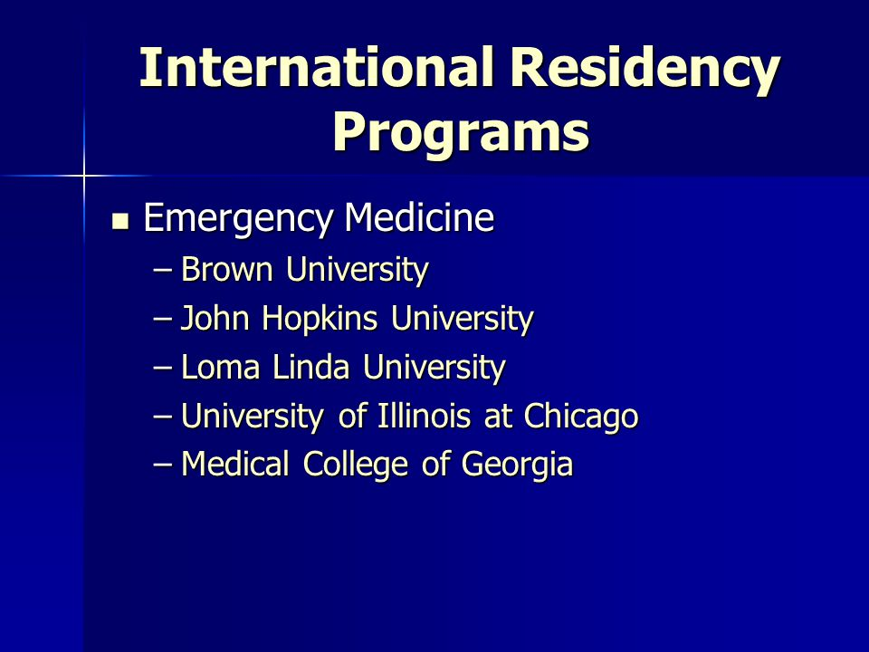 International Residency Programs