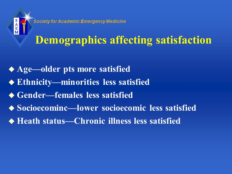 Demographics affecting satisfaction