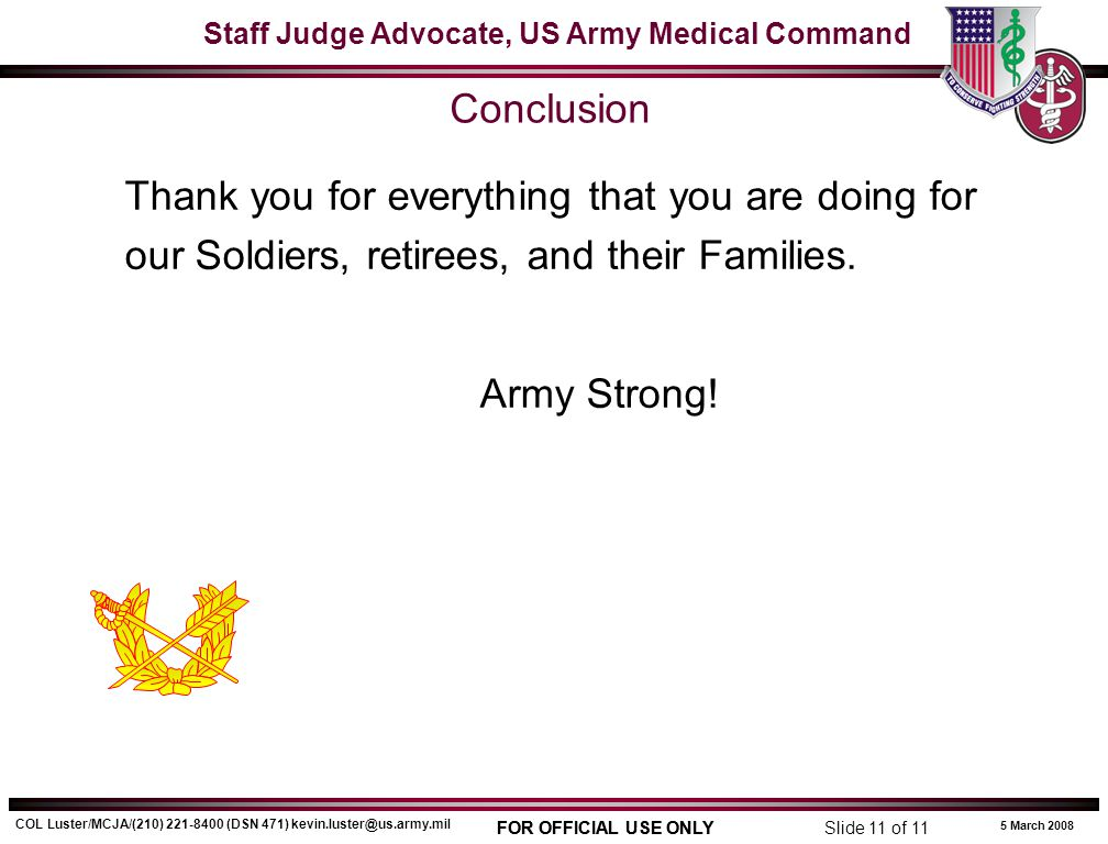Conclusion Army Strong!