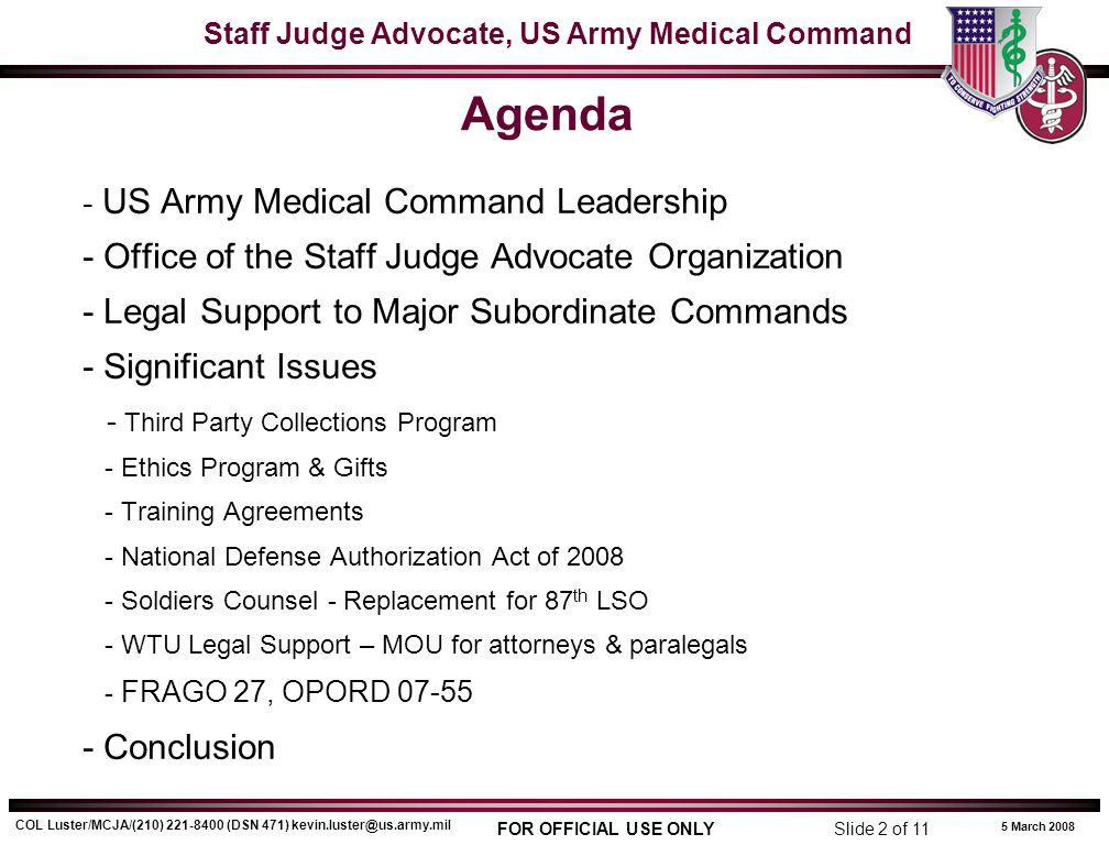 Agenda - Office of the Staff Judge Advocate Organization