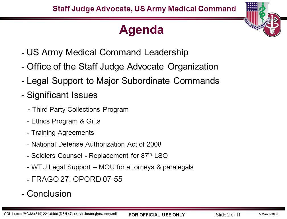 Agenda - Office of the Staff Judge Advocate Organization