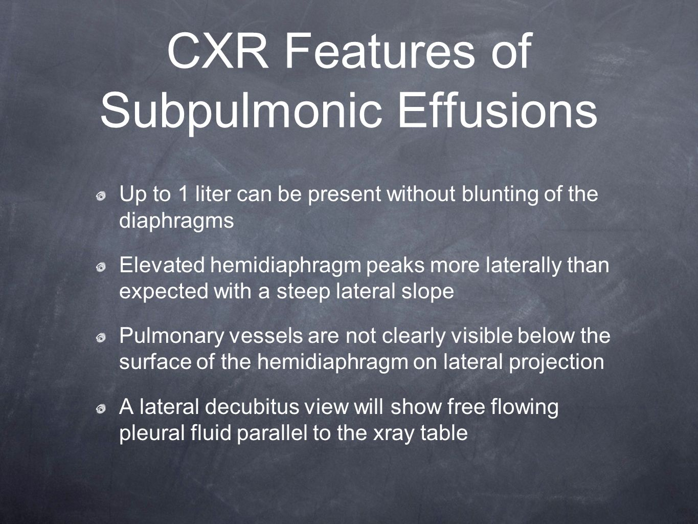 CXR Features of Subpulmonic Effusions