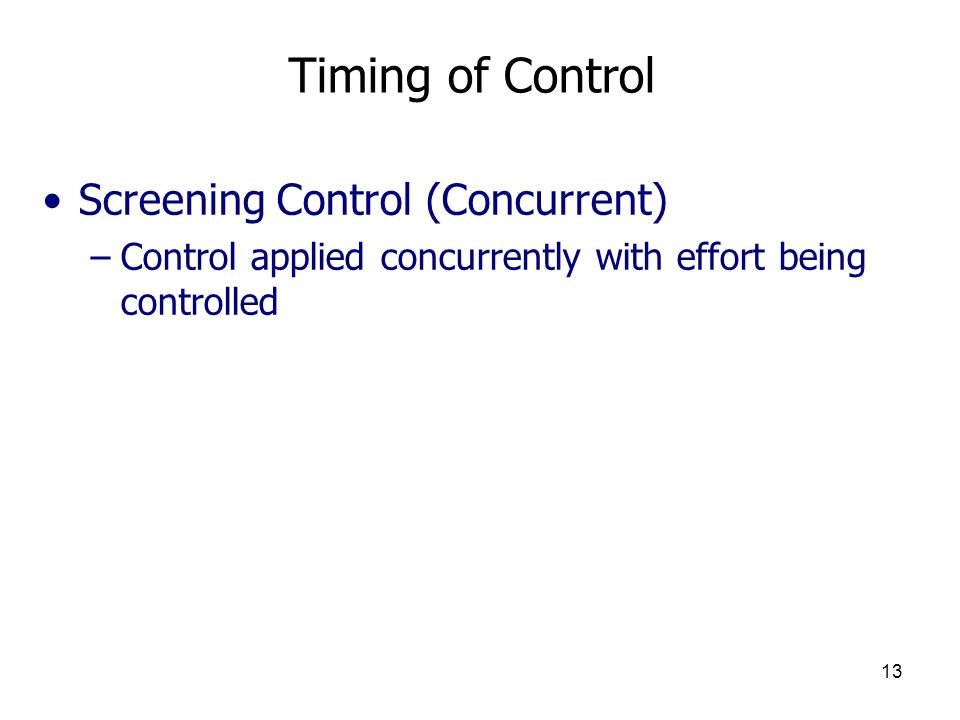 Timing of Control Screening Control (Concurrent)