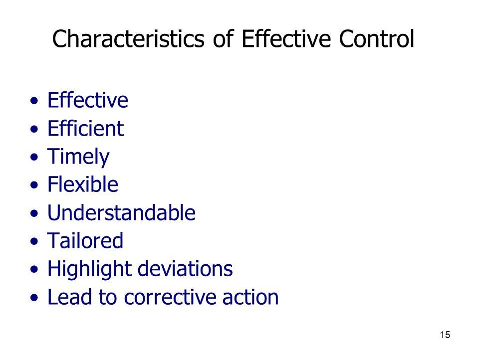 Characteristics of Effective Control