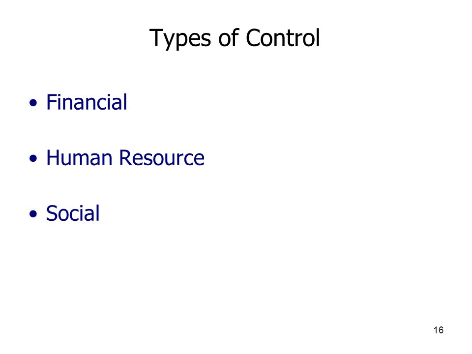 Types of Control Financial Human Resource Social