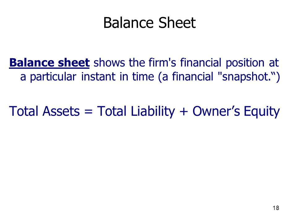 Balance Sheet Total Assets = Total Liability + Owner's Equity