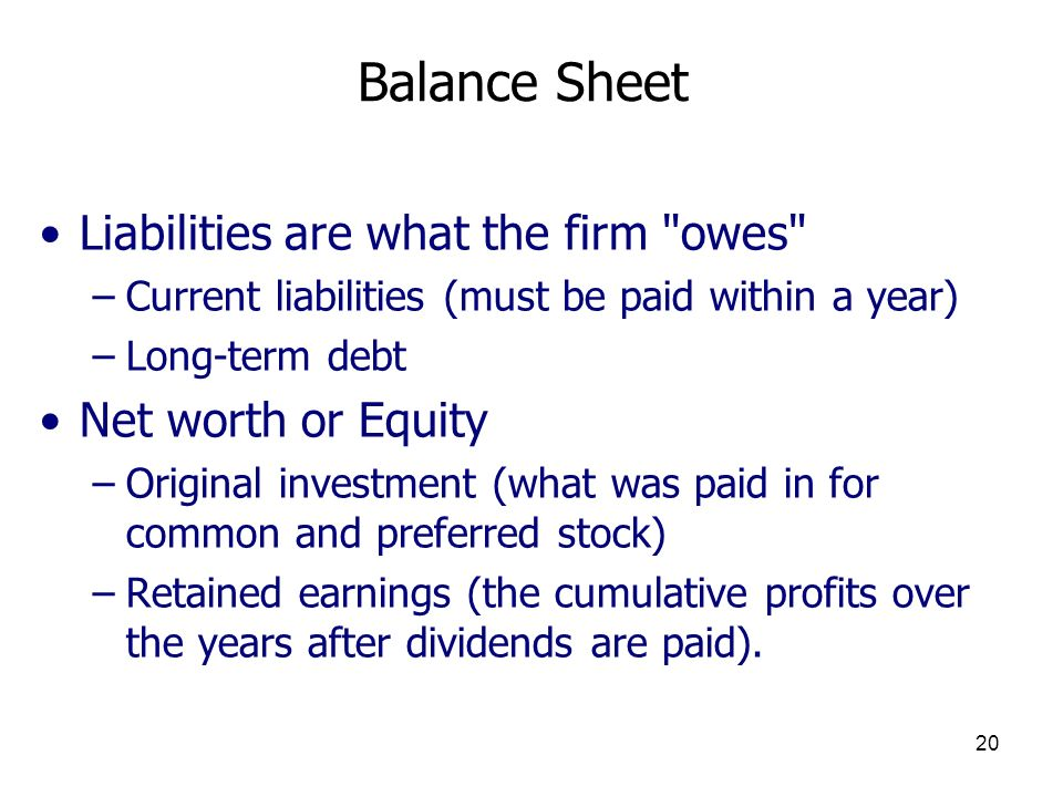 Balance Sheet Liabilities are what the firm owes Net worth or Equity