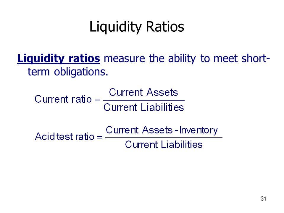 Liquidity Ratios Liquidity ratios measure the ability to meet short-term obligations.
