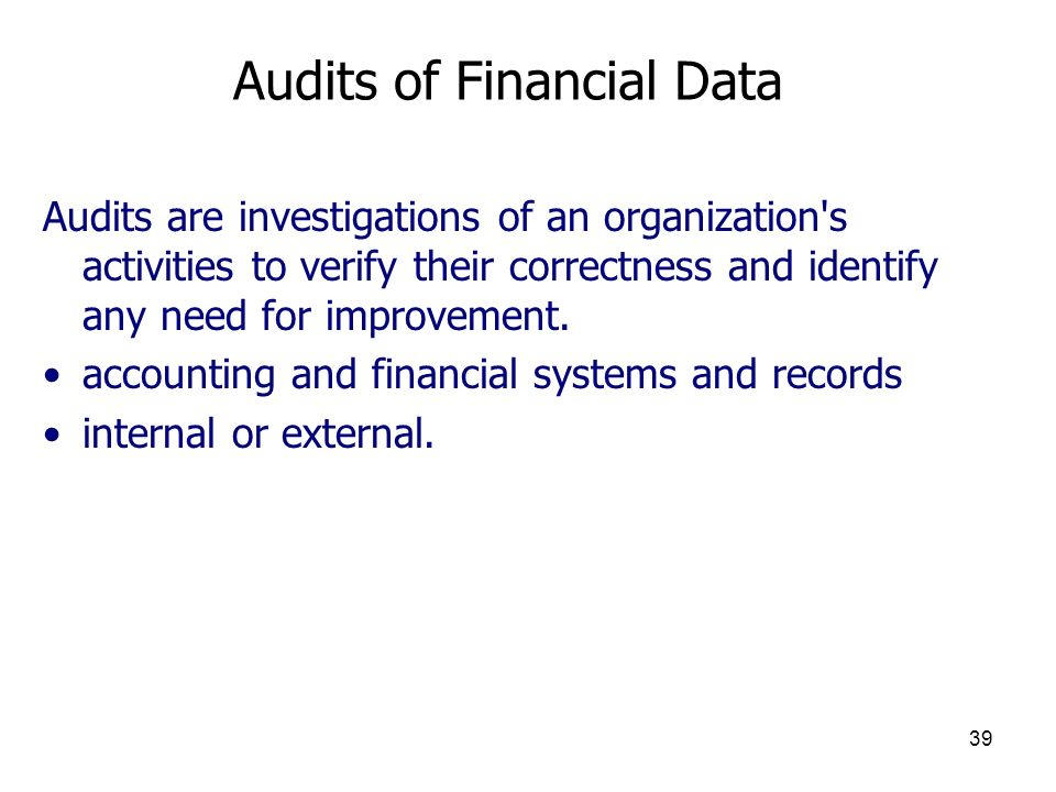 Audits of Financial Data