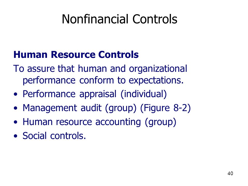 Nonfinancial Controls