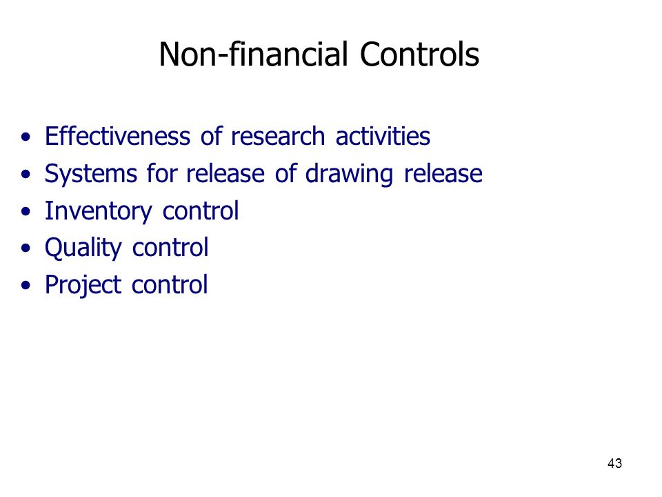 Non-financial Controls
