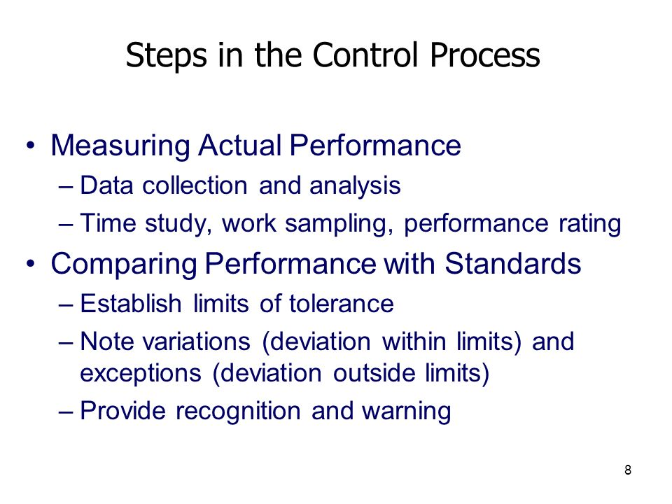 Steps in the Control Process