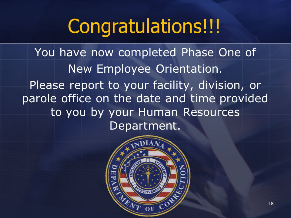 Congratulations!!! You have now completed Phase One of