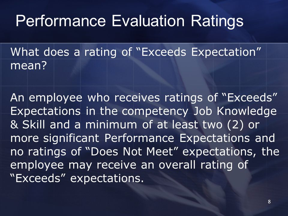 Performance Evaluation Ratings