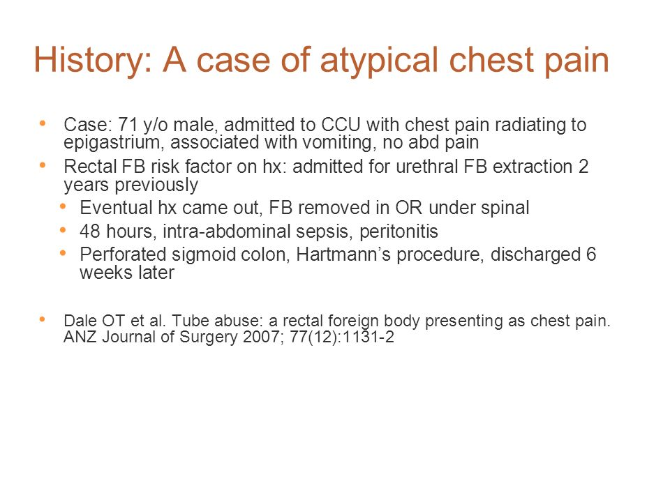 History: A case of atypical chest pain