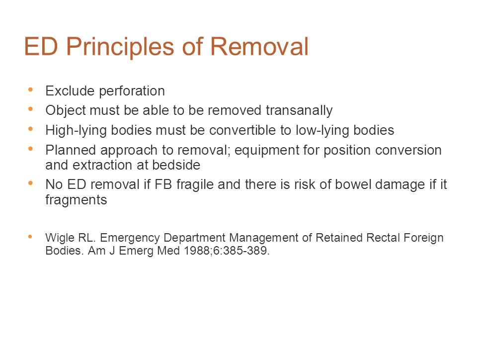 ED Principles of Removal