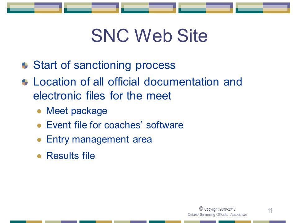 SNC Web Site Start of sanctioning process