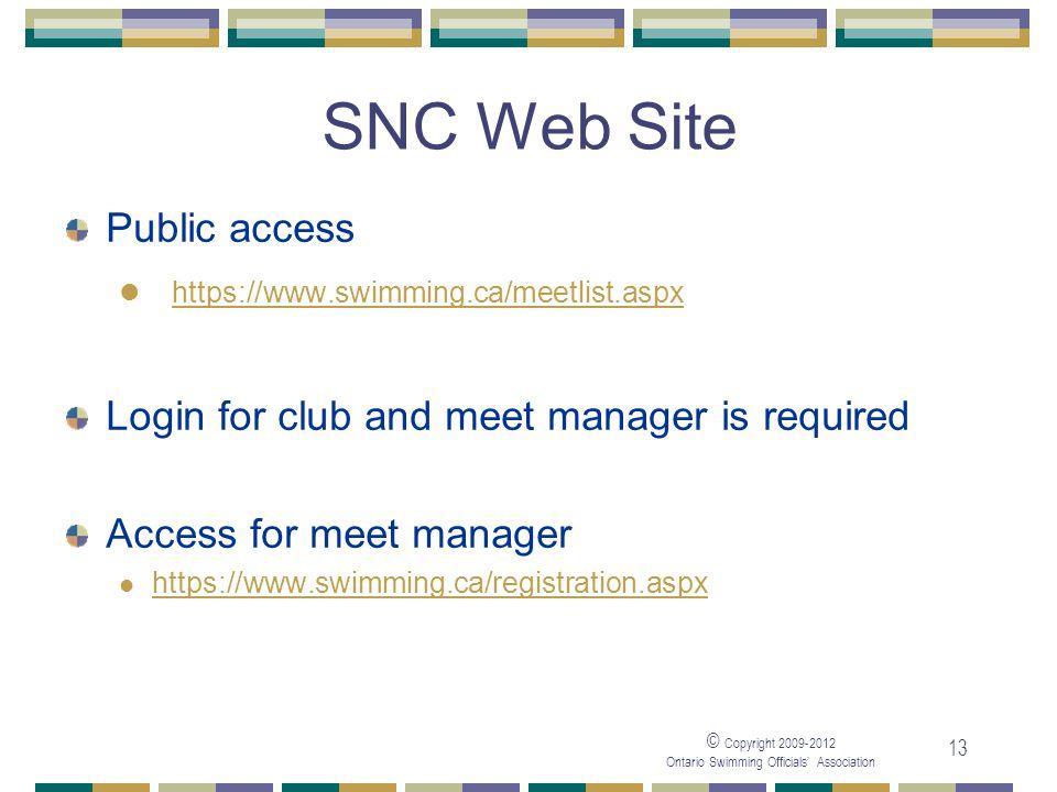 SNC Web Site Public access https://www.swimming.ca/meetlist.aspx