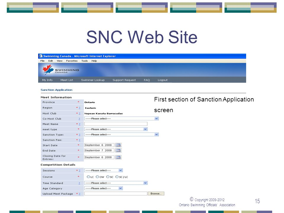 05/04/2017 SNC Web Site First section of Sanction Application screen