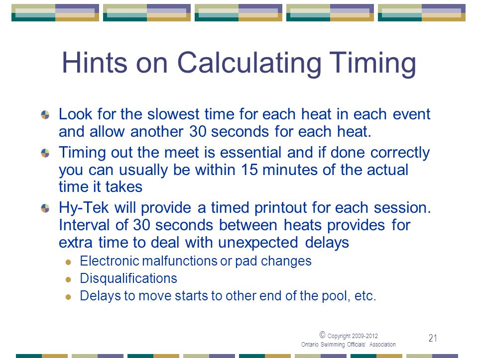 Hints on Calculating Timing