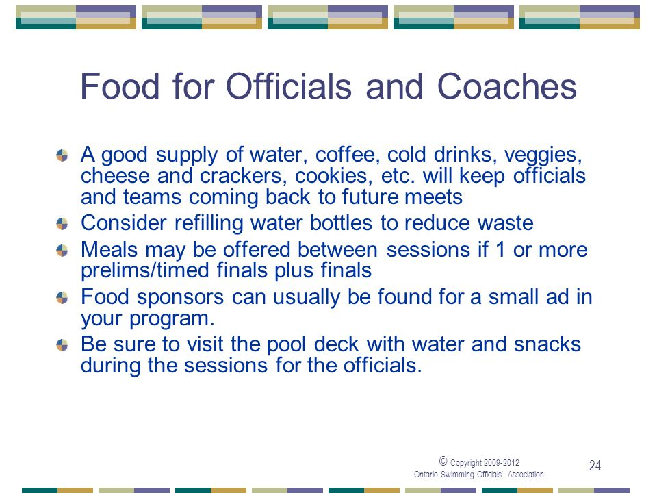 Food for Officials and Coaches