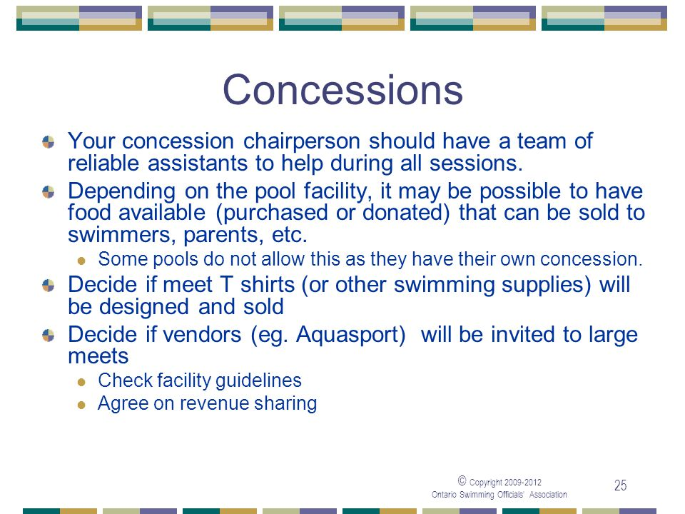 05/04/2017 Concessions. Your concession chairperson should have a team of reliable assistants to help during all sessions.