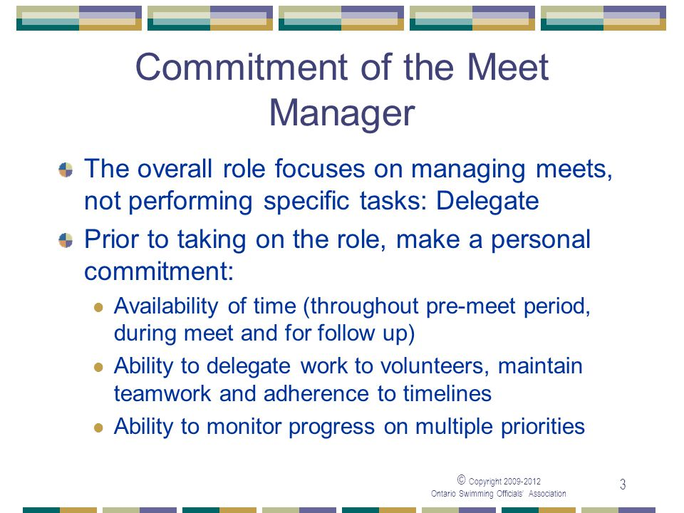 Commitment of the Meet Manager