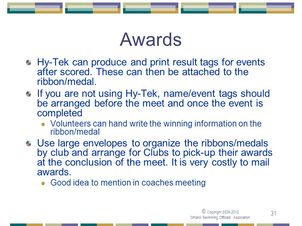 05/04/2017 Awards. Hy-Tek can produce and print result tags for events after scored. These can then be attached to the ribbon/medal.