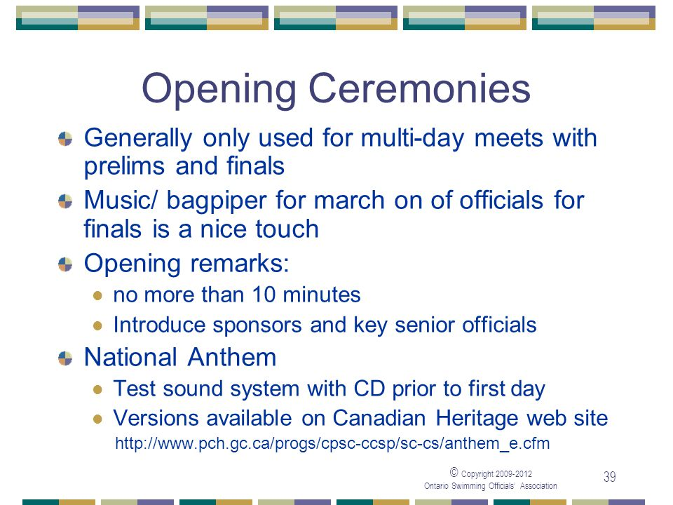 05/04/2017 Opening Ceremonies. Generally only used for multi-day meets with prelims and finals.