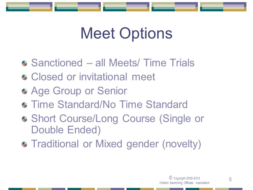 Meet Options Sanctioned – all Meets/ Time Trials