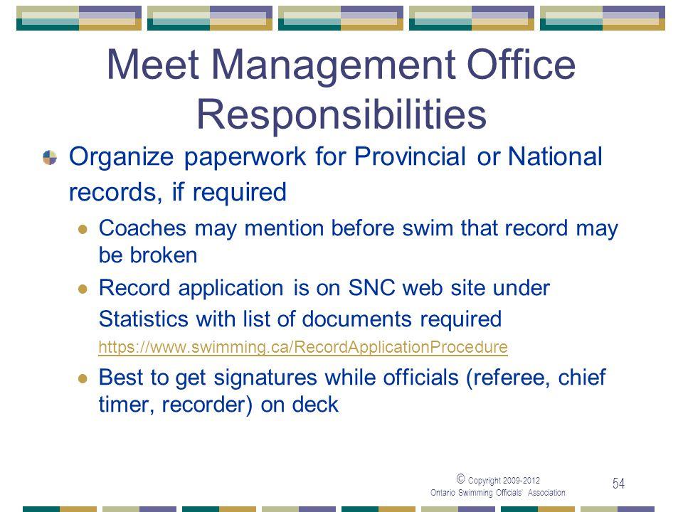 Meet Management Office Responsibilities