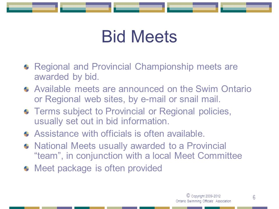 05/04/2017 Bid Meets. Regional and Provincial Championship meets are awarded by bid.