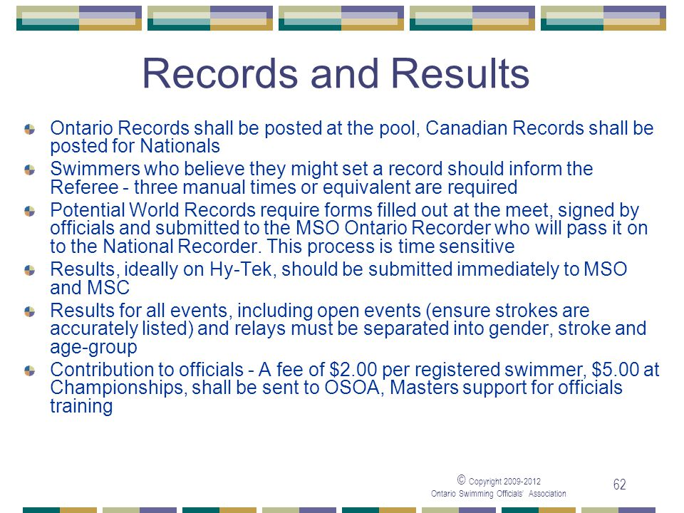05/04/2017 Records and Results. Ontario Records shall be posted at the pool, Canadian Records shall be posted for Nationals.