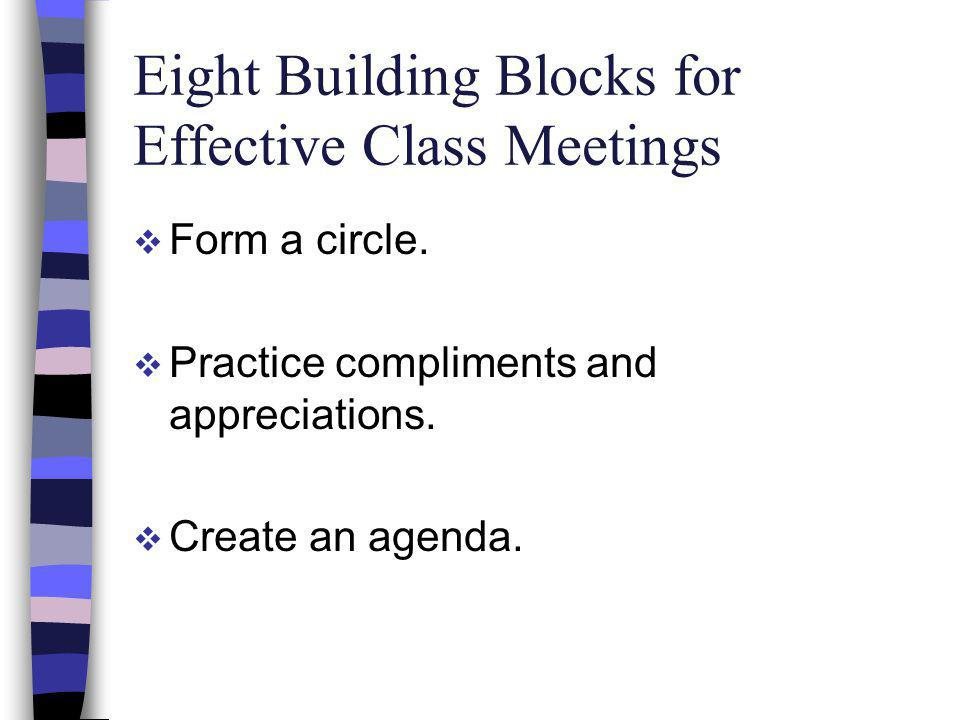Eight Building Blocks for Effective Class Meetings
