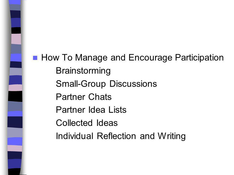 How To Manage and Encourage Participation Brainstorming