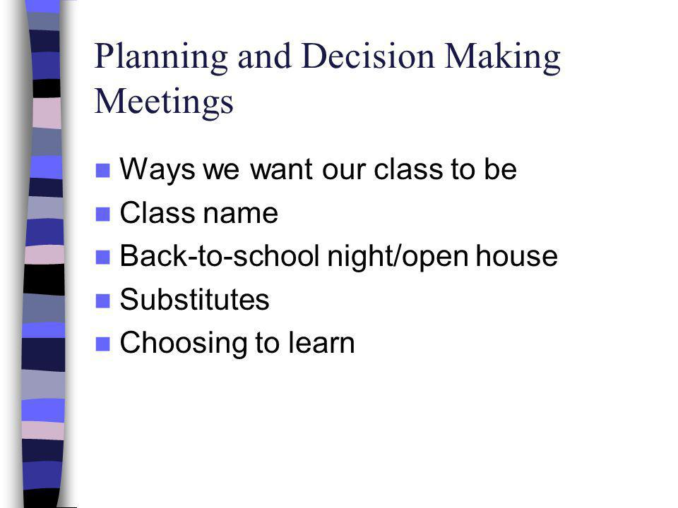 Planning and Decision Making Meetings