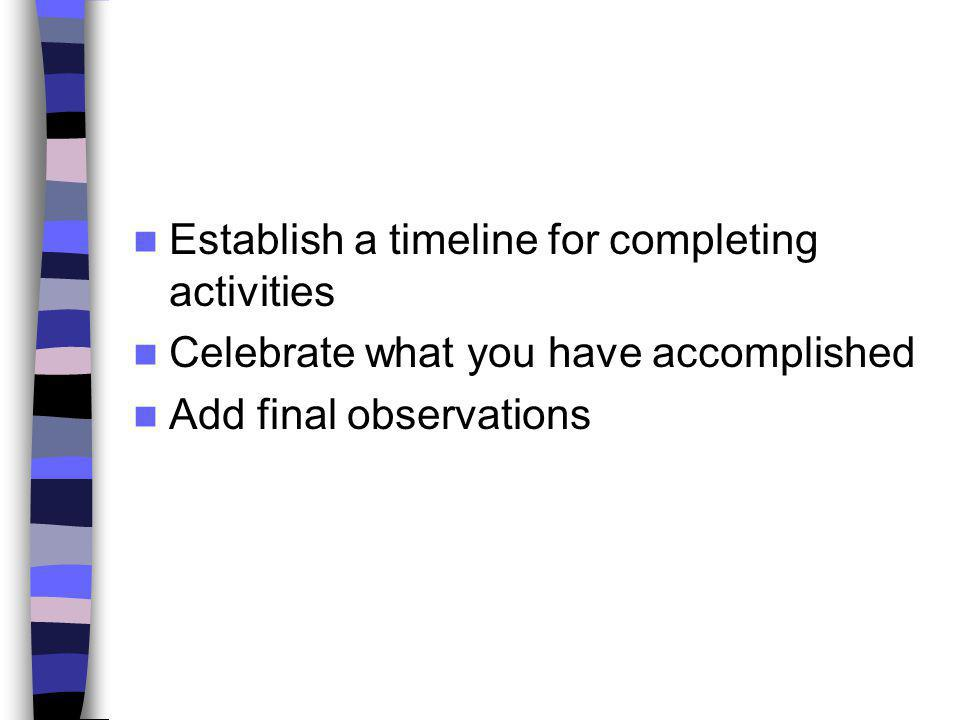 Establish a timeline for completing activities
