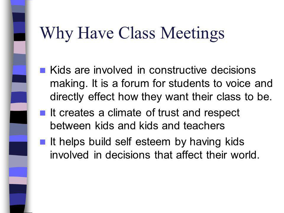 Why Have Class Meetings