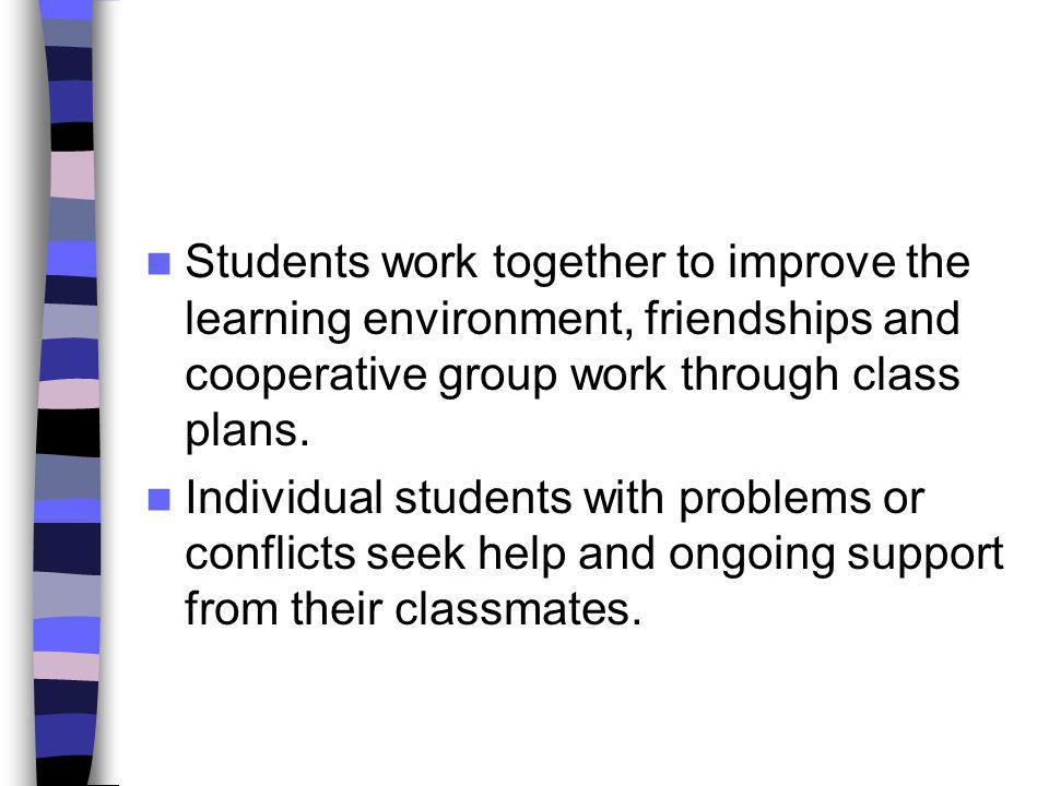 Students work together to improve the learning environment, friendships and cooperative group work through class plans.