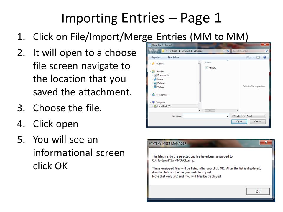 Importing Entries – Page 1
