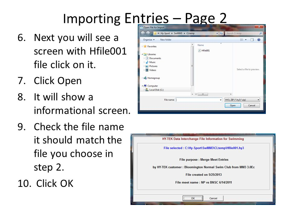 Importing Entries – Page 2