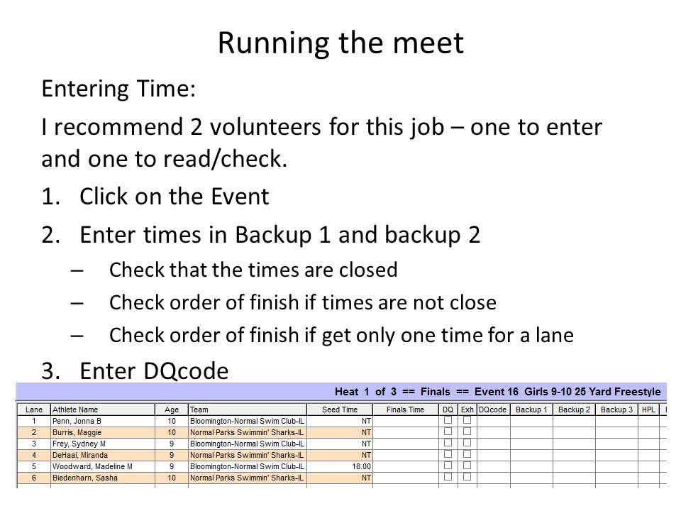 Running the meet Entering Time: