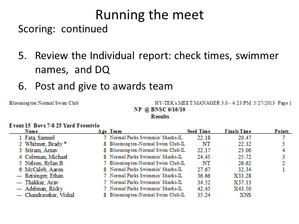 Running the meet Scoring: continued