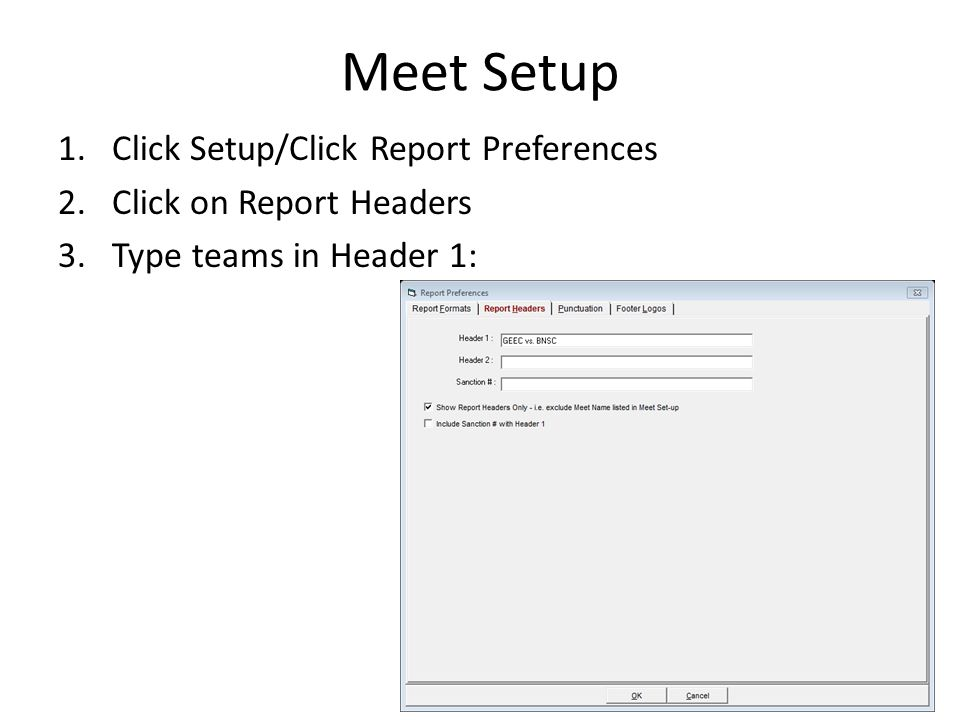Meet Setup Click Setup/Click Report Preferences