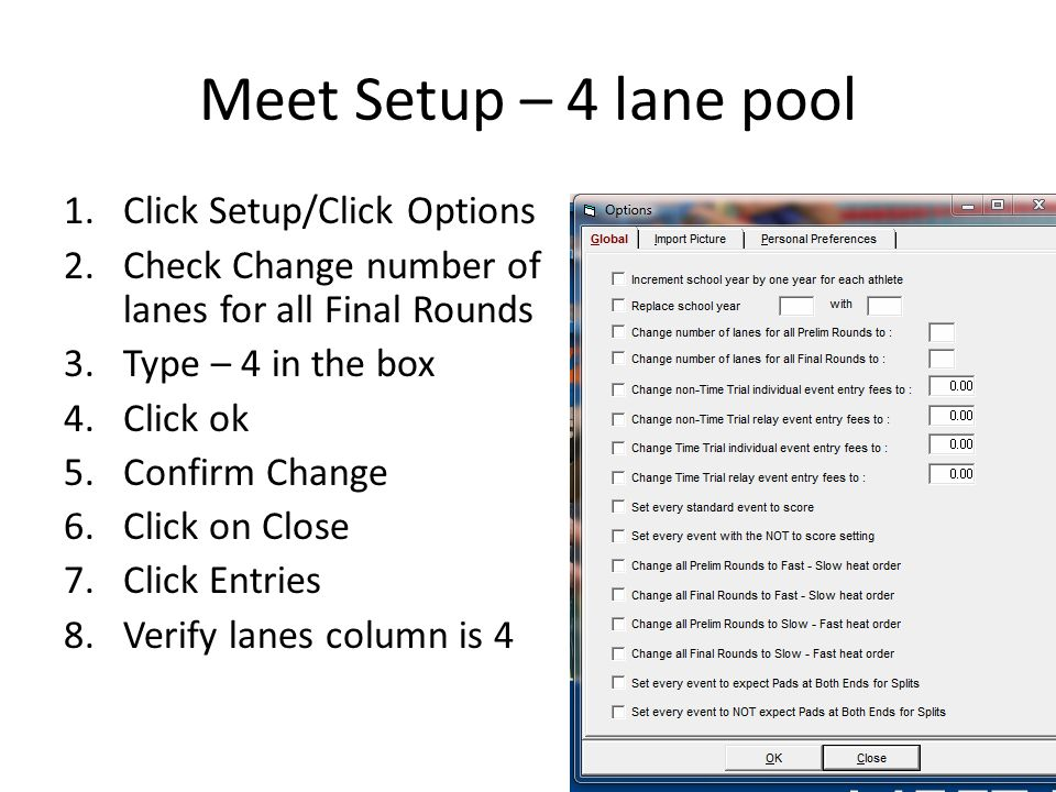 Meet Setup – 4 lane pool Click Setup/Click Options
