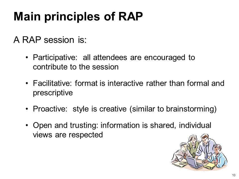 Main principles of RAP A RAP session is: