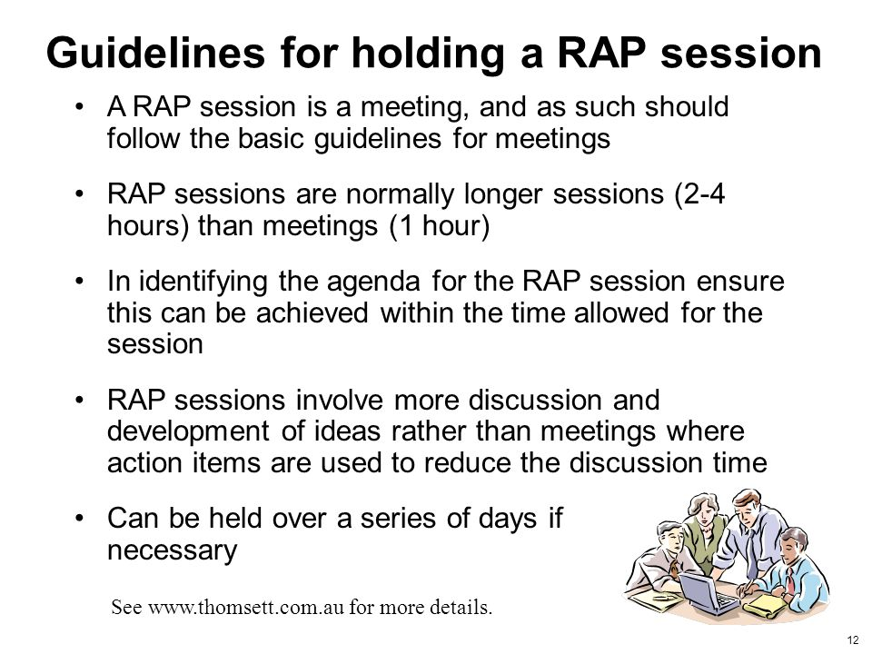 Guidelines for holding a RAP session