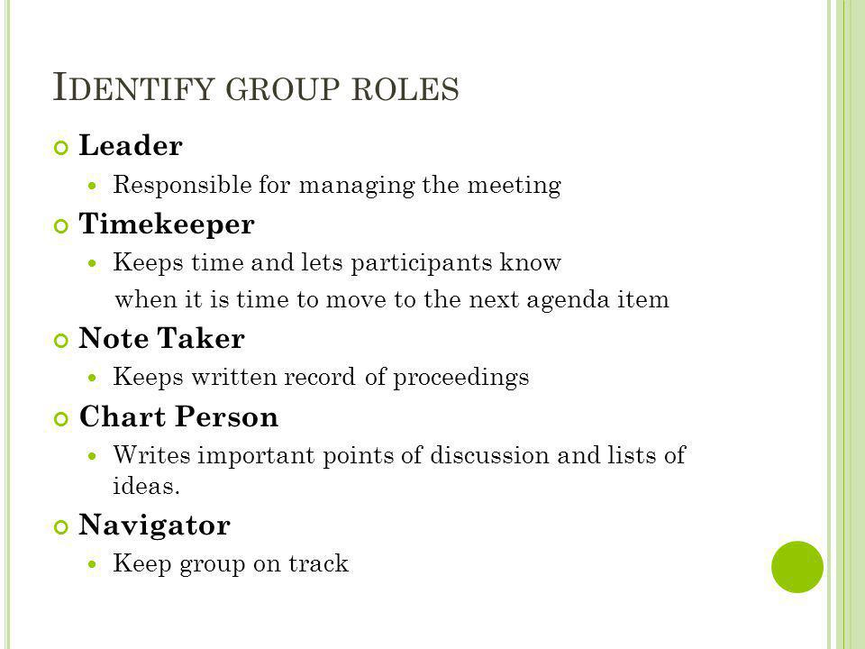 Identify group roles Leader Timekeeper Note Taker Chart Person
