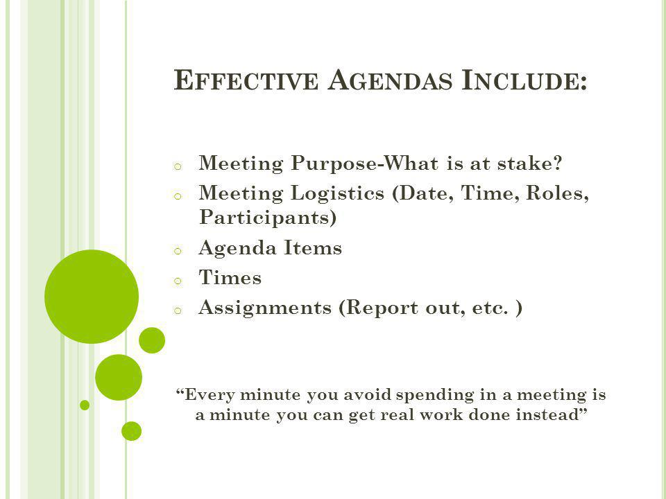 Effective Agendas Include: